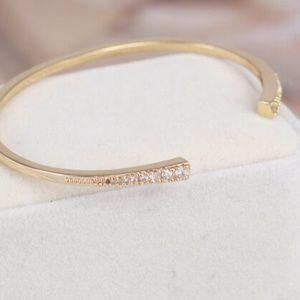 Henri Bendel Bracelet Gold Pave Crystal Cuff New